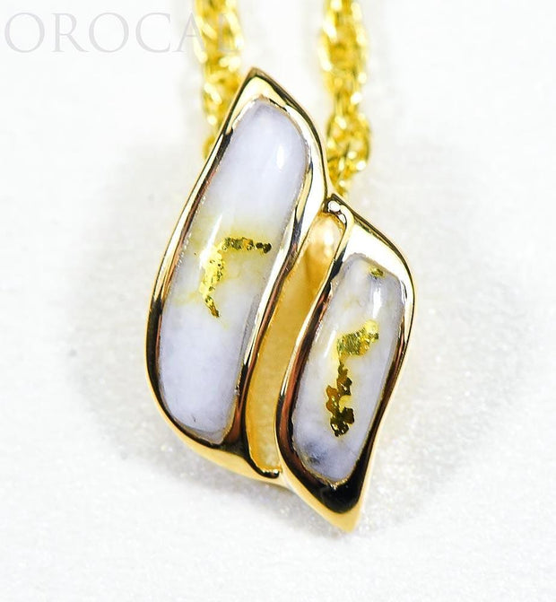 "Gold Quartz Pendant ""Orocal"" PN645QX Genuine Hand Crafted Jewelry - 14K Gold Yellow Gold Casting"