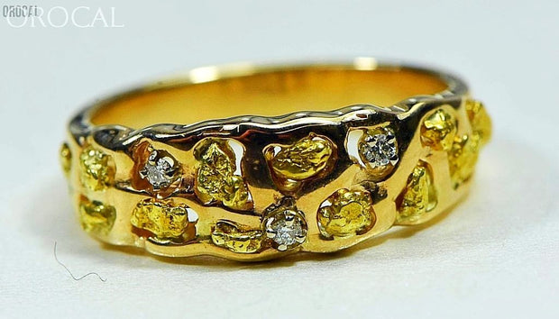 Gold Nugget Mens Ring Orocal Rm195D6 Genuine Hand Crafted Jewelry - 14K Casting