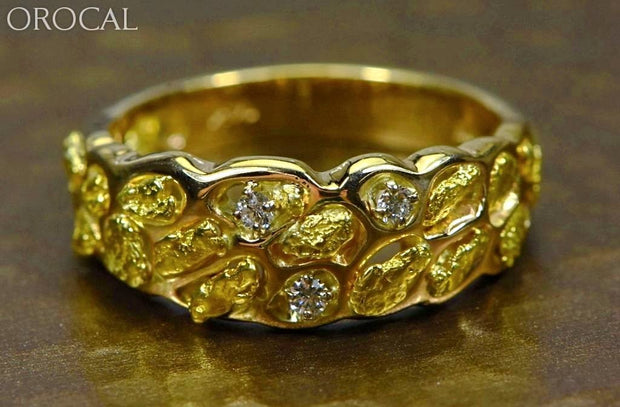 Gold Nugget Mens Ring Orocal Rm210D9 Genuine Hand Crafted Jewelry - 14K Casting