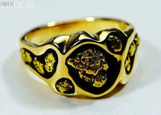 Gold Nugget Mens Ring Orocal Rm654 Genuine Hand Crafted Jewelry - 14K Casting