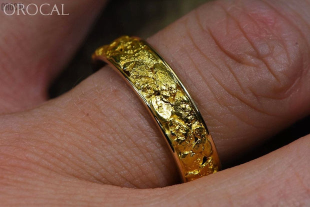 Gold Nugget Mens Ring Orocal Rm6Mm Genuine Hand Crafted Jewelry - 14K Casting