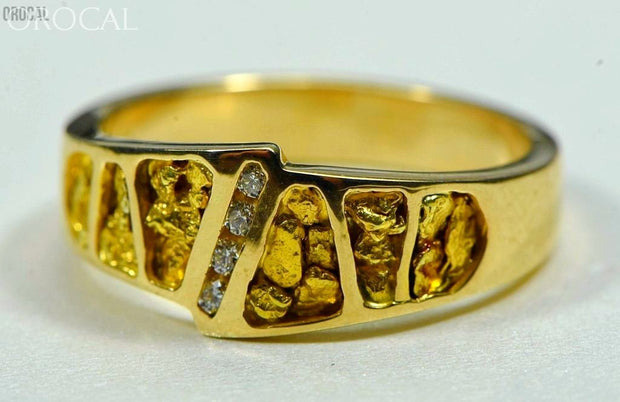 Gold Nugget Mens Ring Orocal Rm882Dn Genuine Hand Crafted Jewelry - 14K Casting