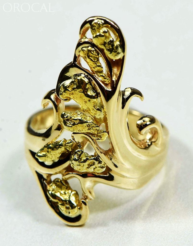 Gold Nugget Womens Ring Orocal Rl469 Genuine Hand Crafted Jewelry - 14K Casting