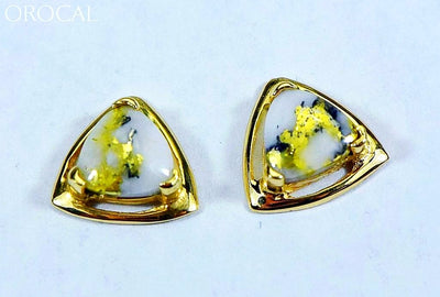Gold Quartz Earrings Orocal En441Q Genuine Hand Crafted Jewelry - 14K Yellow Casting