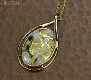 Gold Quartz Pendant Orocal Pn-1771Q Genuine Hand Crafted Jewelry - 14K Yellow Casting
