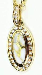 Gold Quartz Pendant Orocal Pn1049Dqx Genuine Hand Crafted Jewelry - 14K Yellow Casting