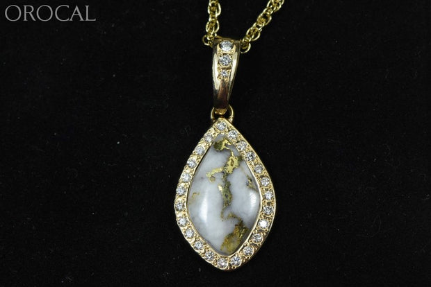 Gold Quartz Pendant Orocal Pn1104Dq Genuine Hand Crafted Jewelry - 14K Yellow Casting