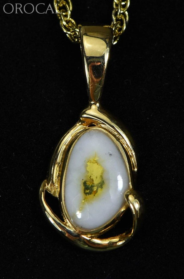 Gold Quartz Pendant Orocal Pn1105Q Genuine Hand Crafted Jewelry - 14K Yellow Casting