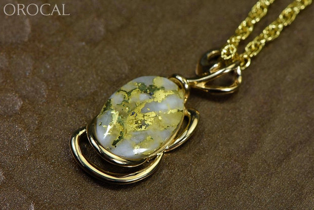 Gold Quartz Pendant Orocal Pn1124Q Genuine Hand Crafted Jewelry - 14K Yellow Casting