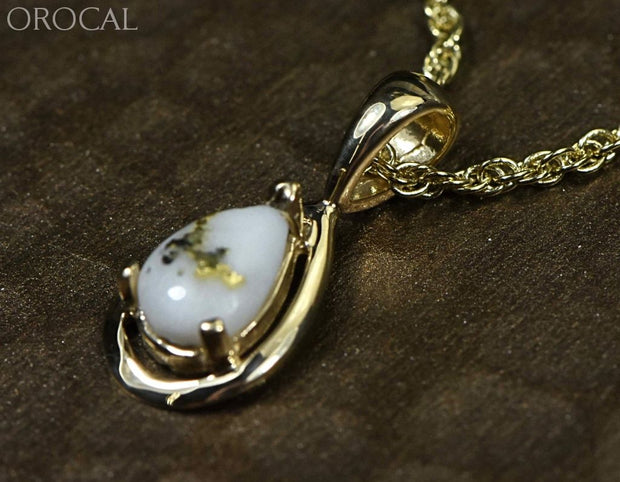 Gold Quartz Pendant Orocal Pn442Qx Genuine Hand Crafted Jewelry - 14K Yellow Casting