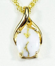 Gold Quartz Pendant Orocal Pn752Qx Genuine Hand Crafted Jewelry - 14K Yellow Casting