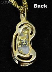 Gold Quartz Pendant Orocal Pn784Qx Genuine Hand Crafted Jewelry - 14K Yellow Casting