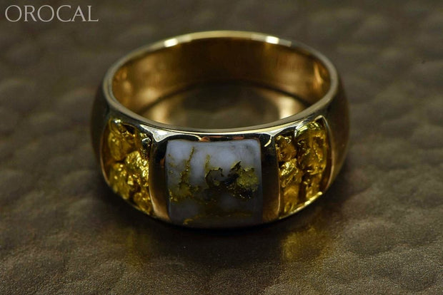 Gold Quartz Ring Mens Orocal Rm1088Nq Genuine Hand Crafted Jewelry - 14K Yellow Casting