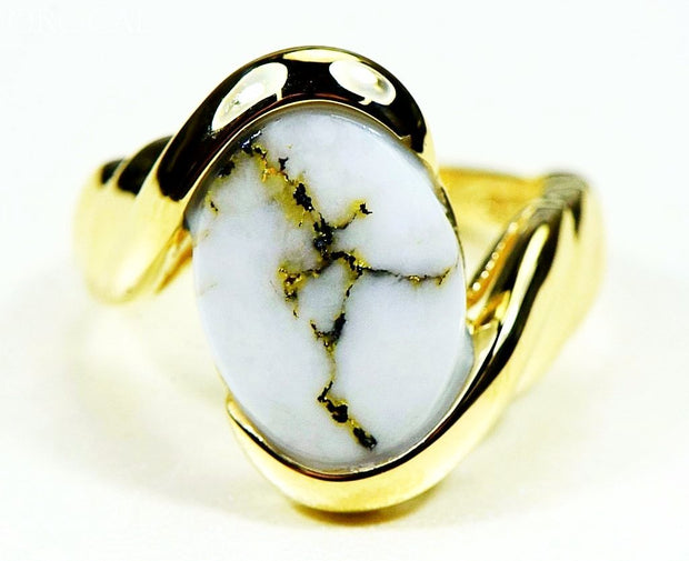 Gold Quartz Ring Orocal Rl1002Q Genuine Hand Crafted Jewelry - 14K Casting