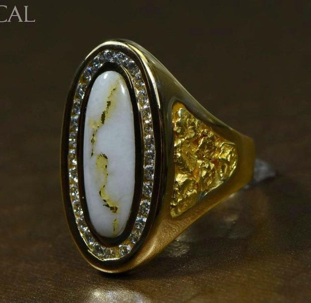 Gold Quartz Ring Orocal Rll923D60Q Genuine Hand Crafted Jewelry - 14K Casting