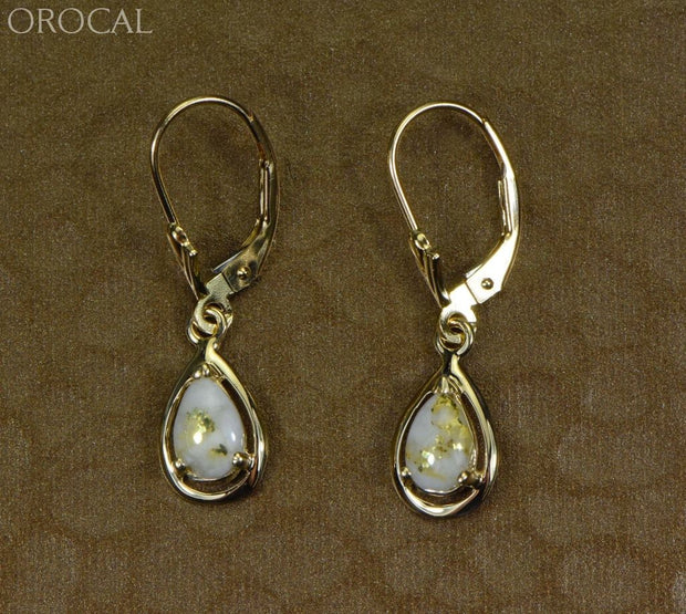 Quartz Earrings Orocal En442Q/lb Genuine Hand Crafted Jewelry - 14K Gold Yellow Casting