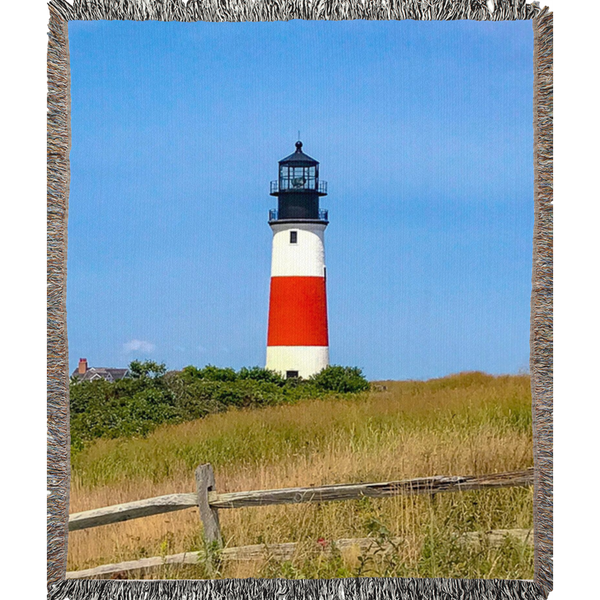 Sankaty Head Lighthouse Woven Blankets