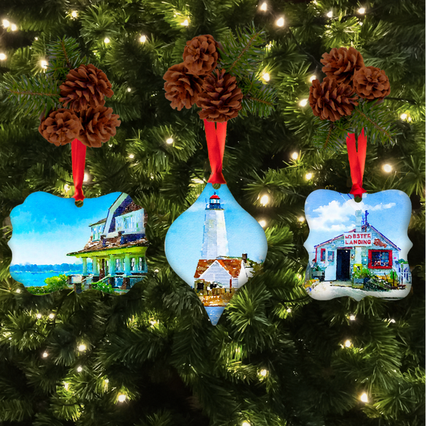 Connecticut Coast Christmas Ornament Set