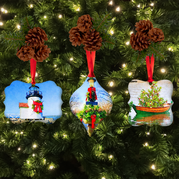 Nantucket Stroll Christmas Ornament Set