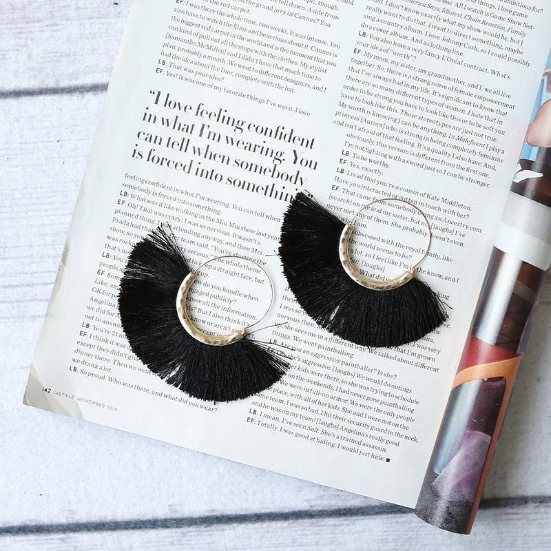 Aurora Tassel Earrings Black