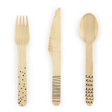 Doodle Wooden Cutlery Set My Event Stylist