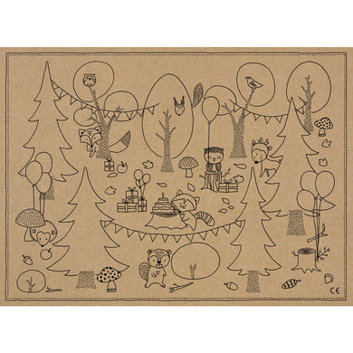 Woodland Colouring Placemat My Event Stylist
