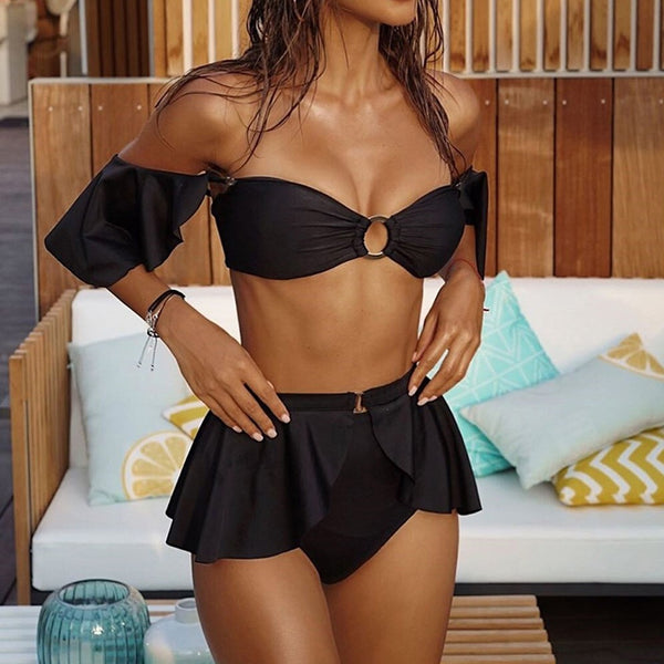NICOLETTE - Ruffled High Waisted Brazilian Bikini