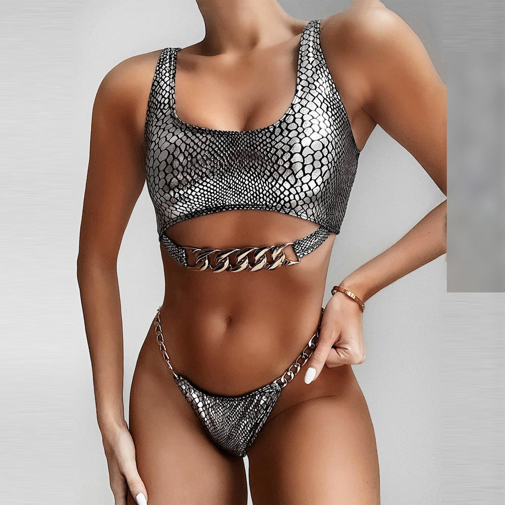 GODIVA - 2 Piece Snake Skin High Waisted Chain Link Swimsuit Bikini