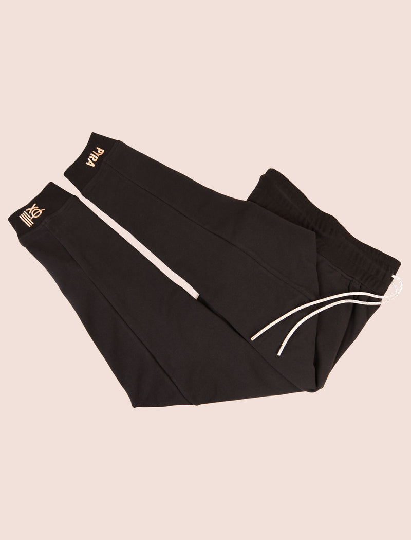 Black Joggers: Ankle Logo
