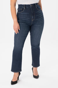 High Rise Straight Leg Jeans - Dark Blue Wash