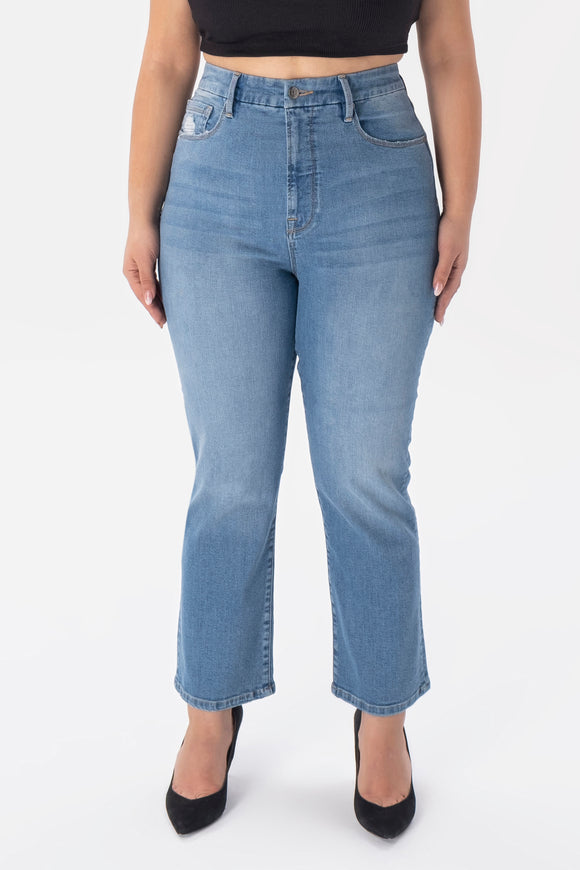 High Rise Straight Leg Jeans - Light Blue Wash