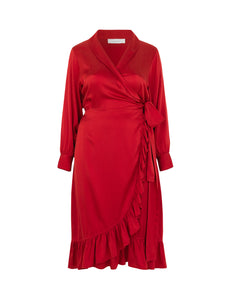 Audre Silk Dress Red
