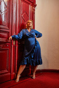 Audre Silk Dress Blue