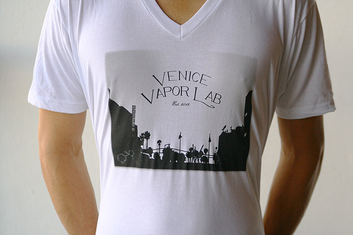 VVL White V-Neck T-shirt with Painting Logo