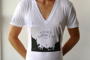 VVL White Deep-V T-Shirt with Painting Logo