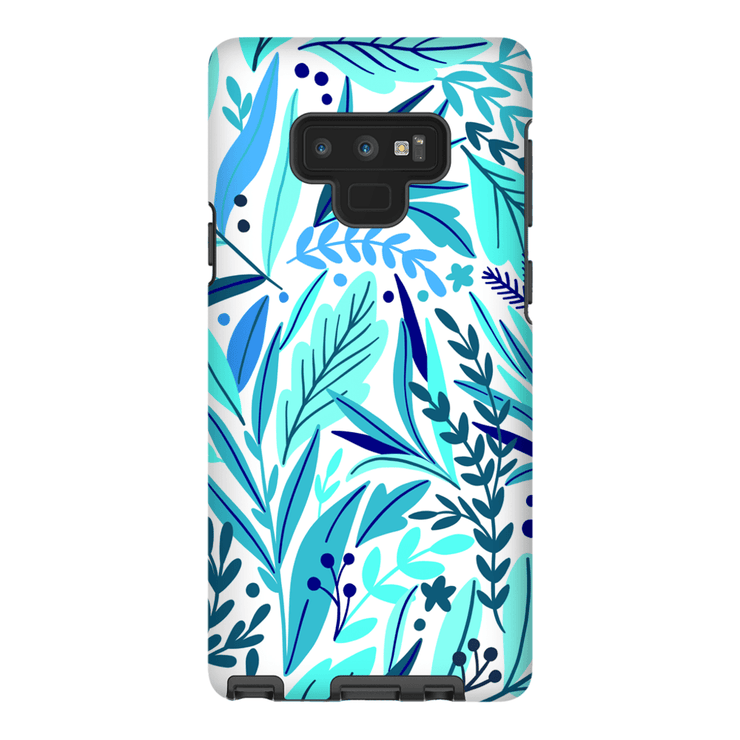 Turquoise Leaves Galaxy Note 8 and 9 Tough Case - Purdycase
