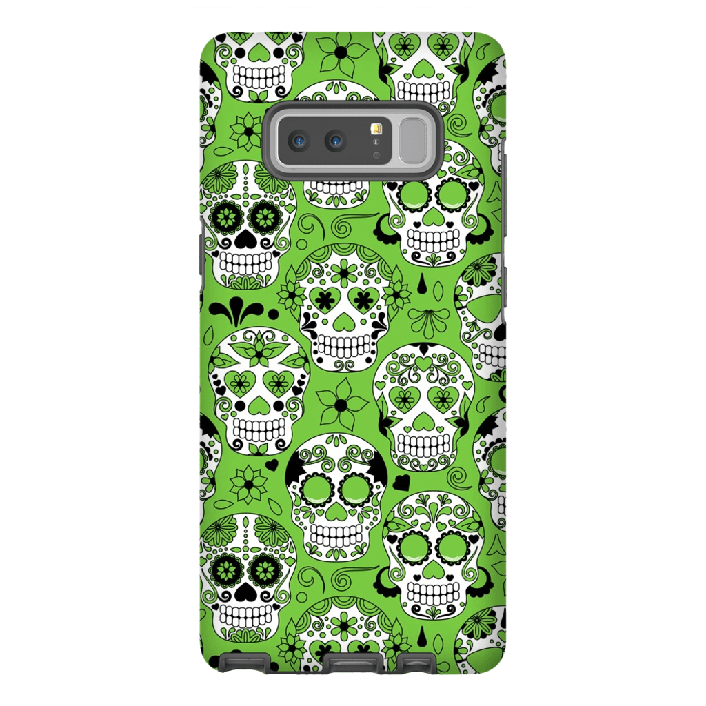 Lime Sugar Skulls Galaxy Note 8 and 9 Tough Case - Purdycase