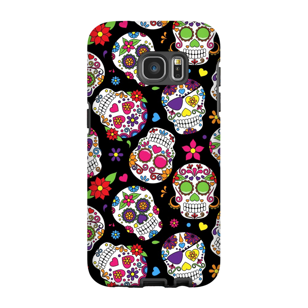 Black Sugar Skulls Galaxy S7 and S7 Edge Tough Case - Purdycase