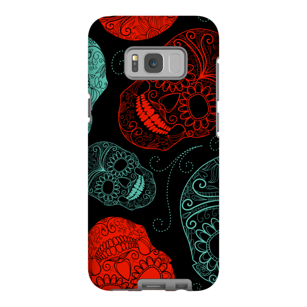 Red Sugar Skulls Galaxy S8 and S8 Plus Tough Case - Purdycase
