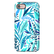 Turquoise Exotic Leaves iPhone 7 and 7 Plus Tough Case - Purdycase