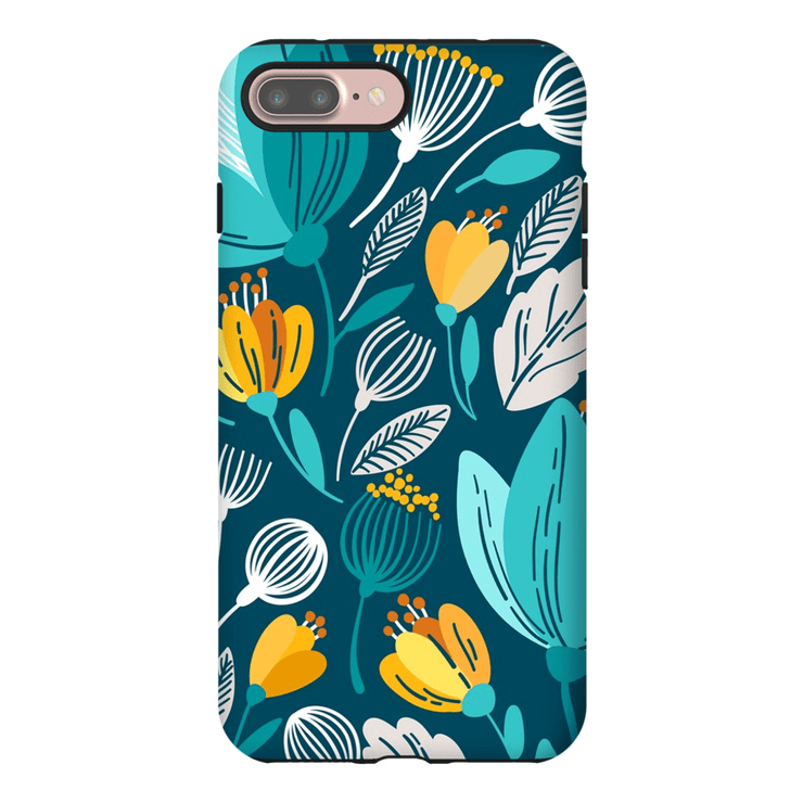 Turquoise Spring Leaves iPhone 7 and 7 Plus Tough Case - Purdycase
