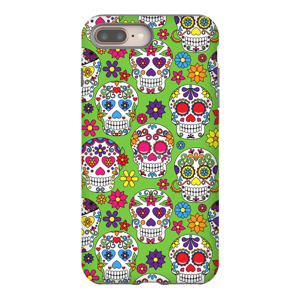 Lime Skulls iPhone 8 and 8 Plus Tough Case - Purdycase