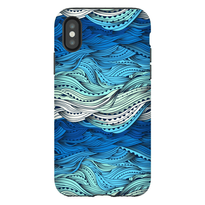 Blue Wavy iPhone X-XS Max Series Tough Case - Purdycase
