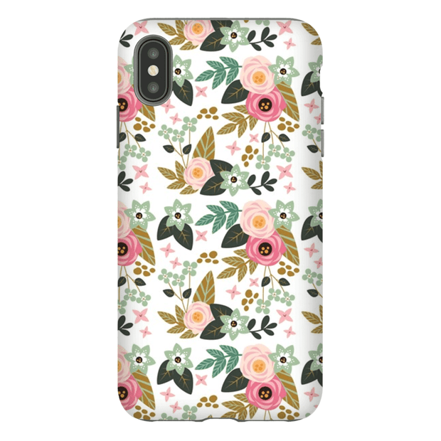 Pink Flower Pattern iPhone X-XS Max Series Tough Case