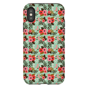 Green Flower Pattern iPhone X-XS Max Series Tough Case