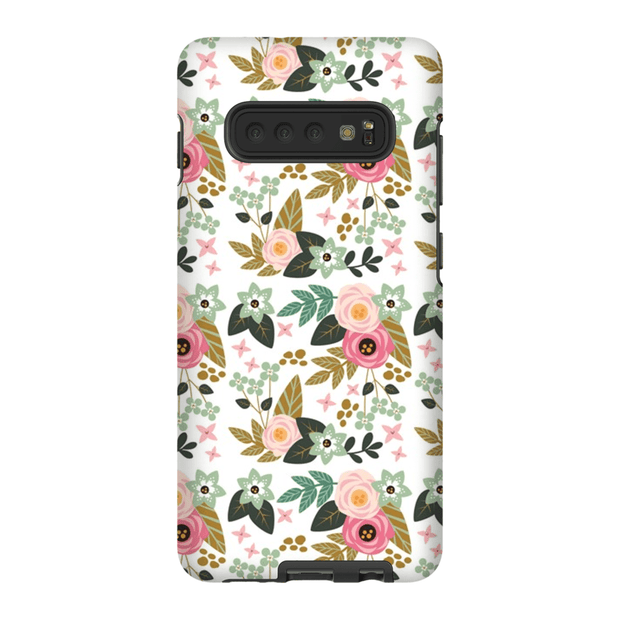 Pink Flower Pattern Galaxy 10 Series Tough Case - Purdycase