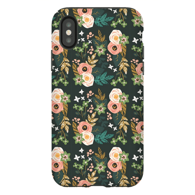 Dark Green Rose Pattern  iPhone X-XS Max Series Tough Case