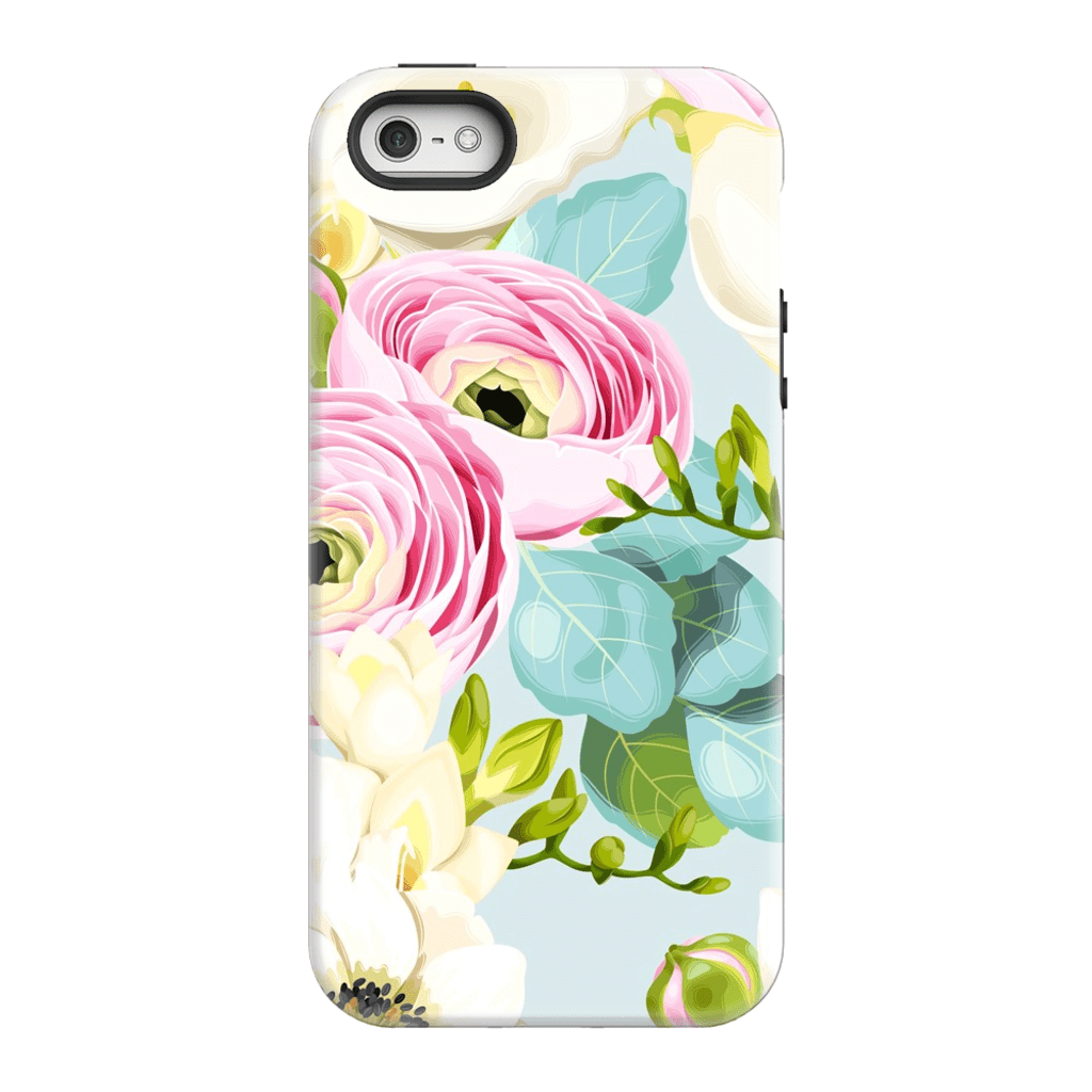 Pinky Blue Floral iPhone 5/5s/SE Tough Case - Purdycase