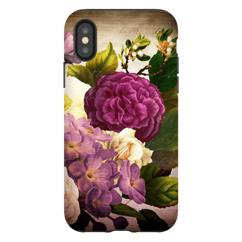 Vintage Burgundy Floral iPhone X-XS Max Tough Case - Purdycase
