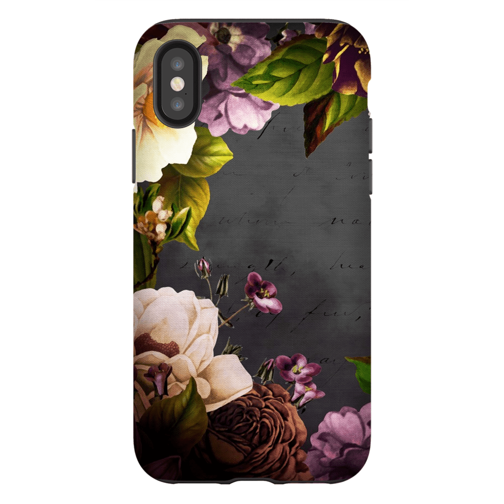 Purple Vintage Floral iPhone X-XS Max Tough Case - Purdycase